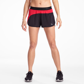 "saucony Split Second 2,5"" Shorts Dames, black/saucony red"